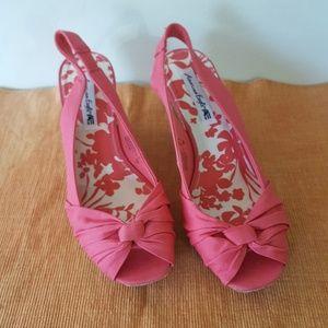 American Eagle peep toe pink wedge heels